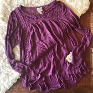 NWT | Knox Rose | Purple Lace Trim Boho Top